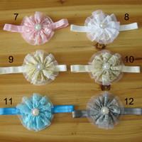 Детский аксессуар для волос Europe and America Baby Girls Hair Accessory Lace Mesh Flowers With CZ Diamond Kids High-grade Headbands 36sets FD180