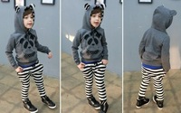 Комплект одежды для девочек 5sets/lot boy and girl Long sleeve T-shirt+pants Panda with striped for 2-6 yrs KIDS boys and girls