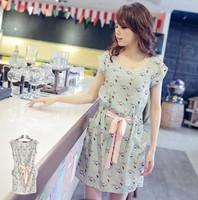 Free shipping 2012 dress vintage bird print  sleeveless elastic slim waist one-piece dress wq1461