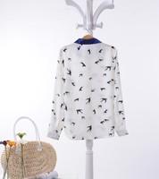 Женские блузки и Рубашки 2014 New Hot Sale Women Chiffon Blouse Long Sleeve Button Blue and white colours lapel chiffon blouse