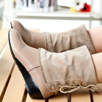 Женские ботинки 2013 New style fashion wedge heel mid-calf high Rhinestone lace ladies boots shoes