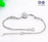 Браслет из серебра Retail for 925 Sterling Silver Zircon Bracelet with White Gold, Real Silver Bracelets, Top Quality