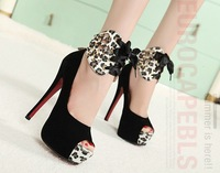 Туфли на высоком каблуке 2012 Women Bow Fish Mouth Leopard Platform Fashion Sexy Show 14cmHigh Heel Dress Shoes/Ladies Pump