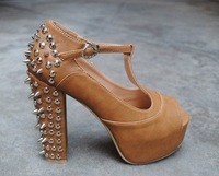 Женские сандалии 2012 Jeffery Campbell Imitation Punk hedgehog spikes T shape roman Sandals DD-XJA38-8 -1