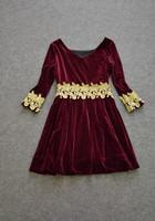 Женское платье 2013 Autumn And Winter Fashion Catwalk Golden Appliques Bead 3/4 Sleeve Wine Red Velvet Dresses