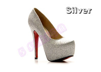 Туфли на высоком каблуке Fashion Women's Platform Pumps Stiletto Classic High Heel Glitter Shoes 3719