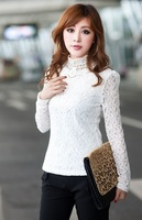 Женские блузки и Рубашки New Women Slim Embroidered lace Shirt, Long Sleeve Female Blouses, Plus SizeS M L XL 2XL 3XL 4XL
