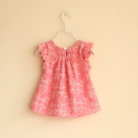 Блузка для девочек 2013 new summer brand children clothing girls top fahsion sleeve printed flowers Classic cotton 2T-6T