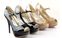 Туфли на высоком каблуке High quality women High heel Peep Toe bowknot buckle Pu leather shoes