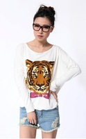 Женская футболка East Knitting AA-114 women plus size clothing Tops Fashion 2013 Tiger Print tee T shirt Tiger sweater sweatshirt New