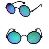 Free Shipping New 2014 Round Circle Vintage Women Sunglasses Designer Original Brand Glasses New Silver 5Color Revo Mirror Lens