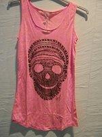 Женский топ Hot selling -Summer Burnt out Women tank tops of skull head print women clothes women T-shirt #5001