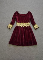 Женское платье 2013 Autumn And Winter Fashion Catwalk Golden Appliques Bead 3/4 Sleeve Wine Red Velvet Dresses