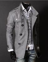 Мужские изделия из шерсти Hot Sale New Men Slim Warm Coat Jacket Stylish Woolen Double Pea Trench Topcoat Outwear
