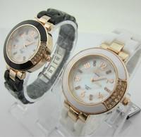 Наручные часы 2013 Japan Movement Fashion Women 100% ceramic crystal rose quartz watches Miss Jin Meili Gift transport