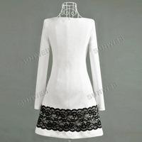 женской моды девушка с длинным рукавом Повседневные хлопок смеси белого кружева платье 6435