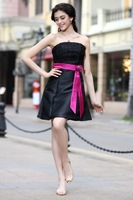 Платье для вечеринки 2013 new black purple 100% high quality short little black dress wrapped chest big swing