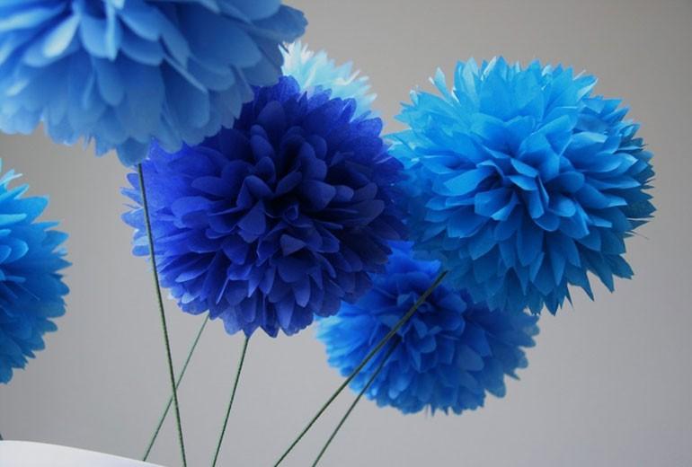 Цветы помпоны из бумаги
