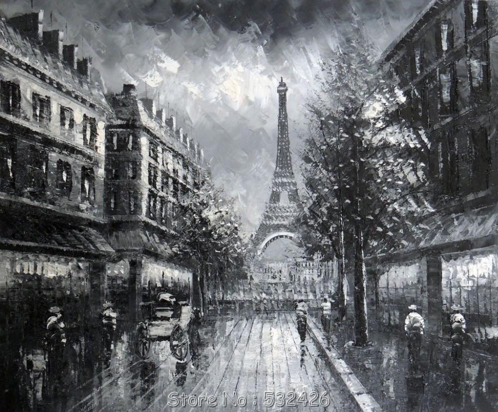 torre eiffel de paris 1800 39 s black white dia chuvoso pintado m o pintura a leo sobre tela. Black Bedroom Furniture Sets. Home Design Ideas