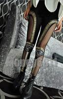 Женский эротический костюм Sexy GOTH Black britches Metallic pants Punk Vinyl Bullet trousers Paneled Mesh Studded Sequin Leggings