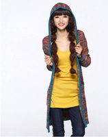 2012 HOT!new fashion women long hooded jacket Color Mixing sweater cardigan  coat