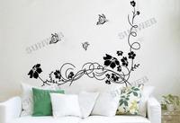Стикеры для стен 80 x 57cm New Design Home Wall Sticker Removable Flower Pattern Decoration Wall Paster/Poster 6594