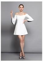 Женское платье Women Dresses Luxury Brand Fall/Winter New Fashion Europe&America Elegant Solid White/Black Flare Sleeve Palace Vintage Dress