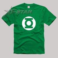 Free Shipping (via EMS) 10pcs Green Lantern Symbol Pattern T-Shirt Green Color (Support Mixed Batch)