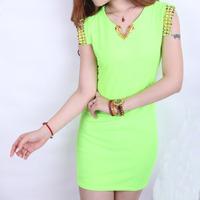Женское платье 2013 Women Sleeveless V-neck Fluorescent Color Rivet Dress Fashion Green Slim Daily Dress