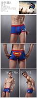 новые моды боксеры смешные милые Мужские боксеры трусы белье прекрасный голубой Супермен хлопок Сексуальное белье