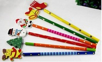 Карандаш 2012 Novelty Back to School 10 pieces/Lot Christmas Theme Kids Cartoon Wooden Pencil