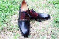 Мужские оксфорды adhesive craft custom handmade pure genuine calf leather men's dress oxford color black/claret shoe No.OX164
