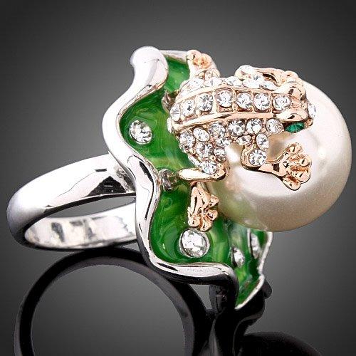"""Кольцо """"Царевна-лягушка"""" покрытое белым и розовым золотом 110грн"""
