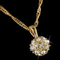Колье-цепь 18k Yellow gold plated Italina Crystal ball Woman 's Necklace LJN001