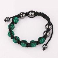 "High Qulity,Fashion Green Shamballa Crystal Bracelets,Charm 7PCS*10mm Micro Pave CZ Disco Beads Unsex""s Bracelets,Free Shipping"