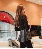 Женское платье Fashion Nightclub Sweet Sexy PU Patchwork Pleated Mini Dress T309
