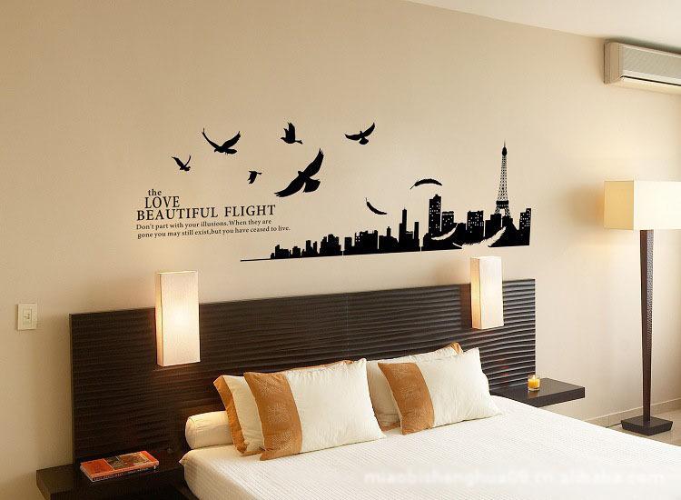 Gr tis frete linda paris city mural da parede adesivos - Disegni camera da letto ...
