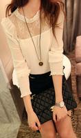 Женские блузки и Рубашки New Noble Women's Temperament chiffon shirt collar lace stitching chiffon shirts