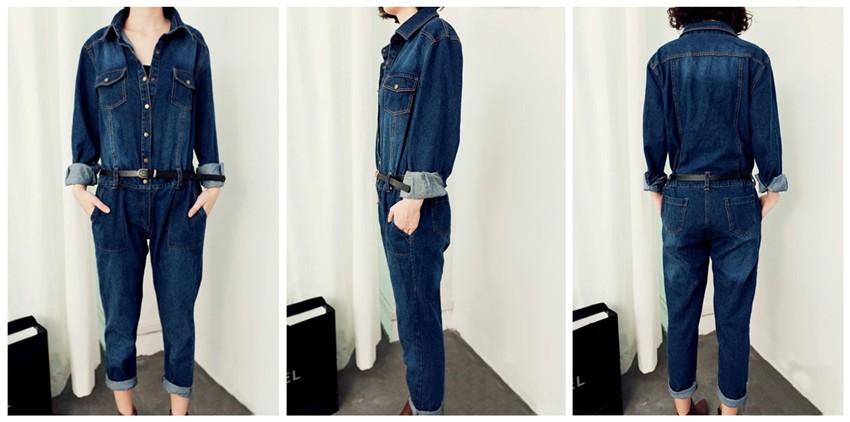 Women's Fashion Long sleeve Lapel Denim Jumpsuit Ladies ...
