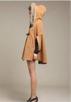 New Arrival women's fur collar cloak woolen outerwear female wool coat autumn and winter FREE SHIPPING W016