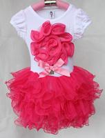 Платье для девочек 2013 new style baby short sleeve t shirt with red love+dress sets, girl tutu dress sets, b2w2 girls dress, QZ-004