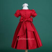Детское платье Hot sale~! 2013 New Style Flower girl APPLE RED PLEATED WEDDING SHORT SLEEVES FLOWER GIRL DRESS 6M 12M 18M 2 4 6 8 10