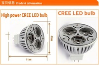 Светодиодная лампа 10pcs CREE High power MR16 3X3W 9W AC/DC12V power led bulb led lamp Warm/cool/pure white Real CREE