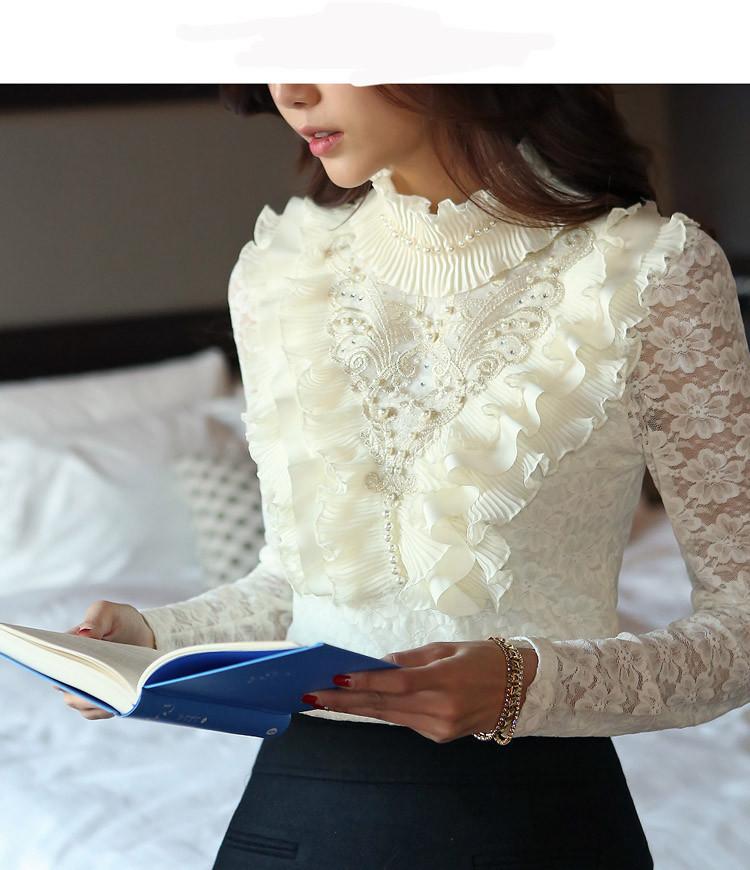 Белая Блузка С Высоким Воротником Купить