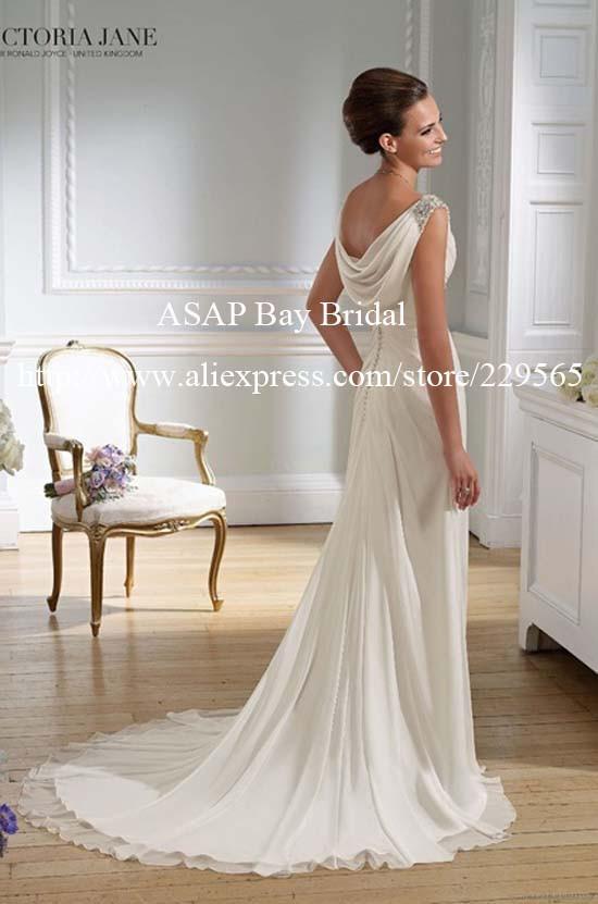 Sheath beaded v neck cowl back chiffon grecian style for Cowl back wedding dress