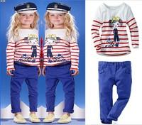 Комплект одежды для девочек High quality baby girl clothes set for autumn toddler girl suit 2pcs long sleeve printed stripes tee + pants
