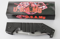 U.S.A Mg M9T Folding Hunting Camping knife Pocket Knives 420 56HRC Blade Black Aviation Alloy Aluminium Handle 8218A