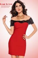 Женское платье 2013 New Women Lace Mini Dress Megan off The Shoulder Lace Trim Bodycon Dress Party Fashion Clubwear OL LC2716-2