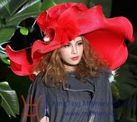 элегантных формальных женщин шляпы большой краев большие hat волны краев красный преувеличенные женщин мода шоу couture шляпа