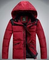 Зимний 90% белая утка вниз Мужская куртка, теплое пальто для мужчин + Мягкий Хлопок одежда